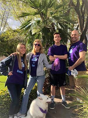 PurpleStride fundraiser family safely participates in a walk in Las Vegas during COVID-19