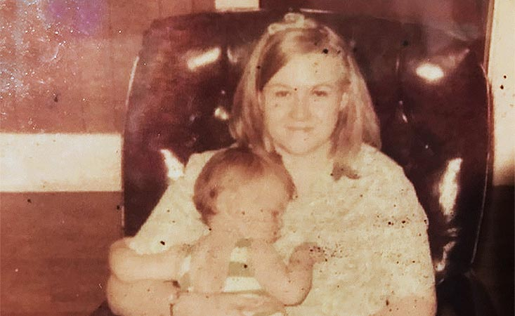 PanCAN fundraiser as a young girl on her mom's lap before she died from pancreatic cancer