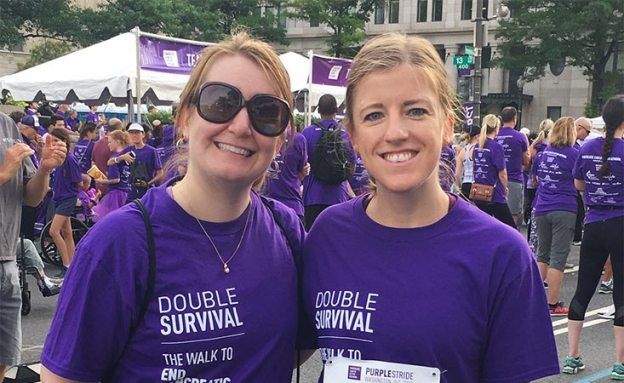 Oncology nurse and PanCAN volunteer at PanCAN PurpleStride 5K walk to end pancreatic cancer