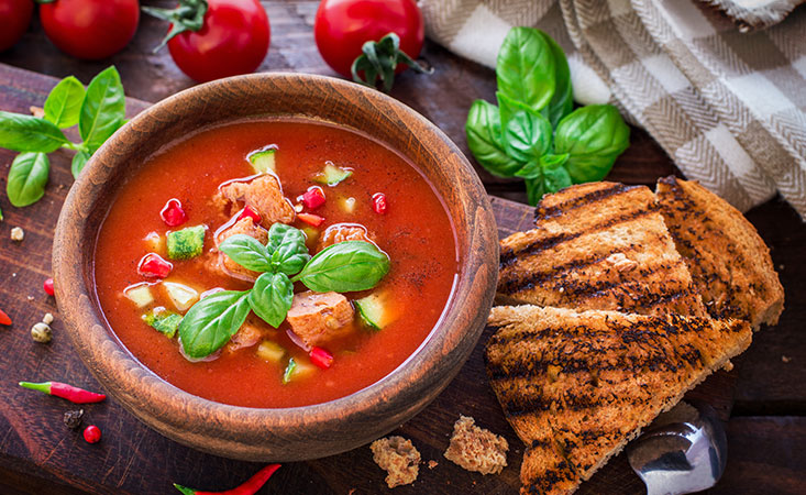 Bowl of gazpacho soup