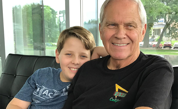Teen and his grandfather, a stage IV pancreatic cancer survivor