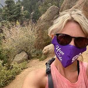 Woman hiking during PanCAN's PurpleStride