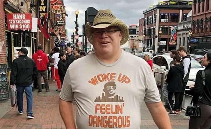 """Steve wears Baker Mayfield """"I woke up feeling dangerous"""" shirt"""