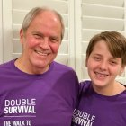 Jake Harmon with his grandfather, a pancreatic cancer survivor