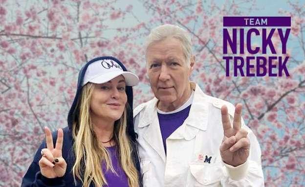 Nicky Trebek and father Alex Trebek at PurpleStride Los Angeles 2019
