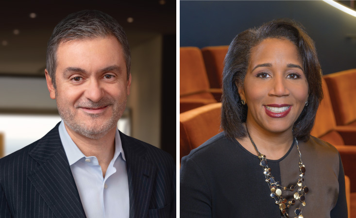 Headshot of a professional, middle-aged black woman and a headshot of a professional, middle-aged Caucasian male