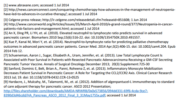 WBC Pancreatic Cancer Implications Sources