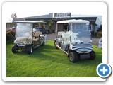 Animal print car wraps on golf carts