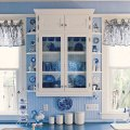 Authentic victorian style country kitchen in blue and white
