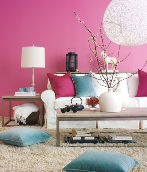 pink and aqua living room Aqua and Pink Interiors - Panda's House