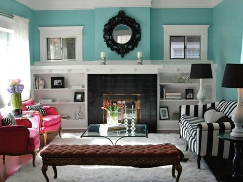 pink and aqua living room pink and blue scheme Archives - Panda's House (3 interior decorating ideas)