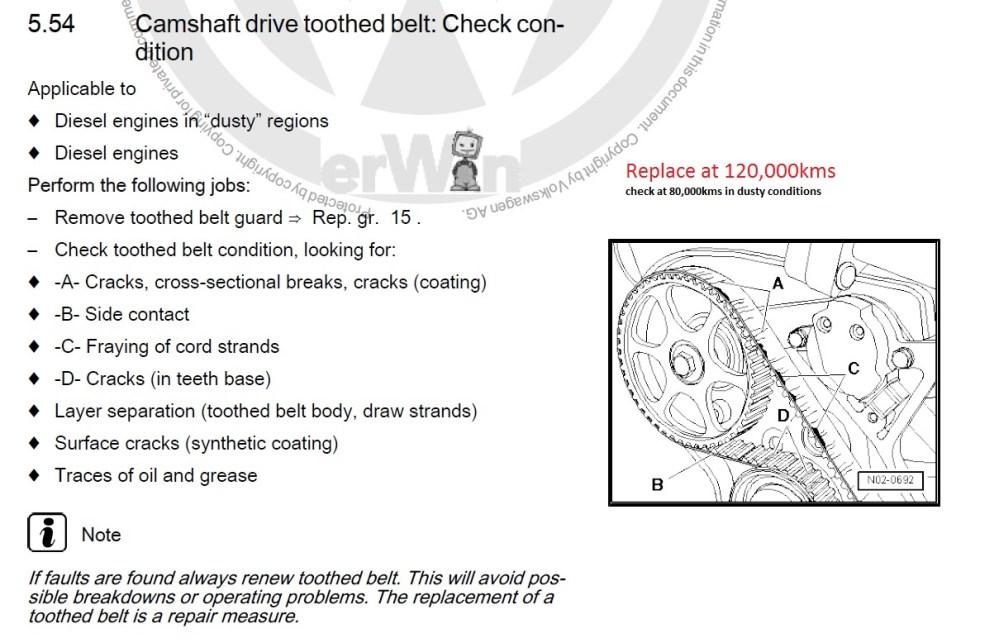 medium resolution of amarok service schedule toothed belt condition check