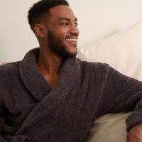 badjas antraciet - badjas biologisch katoen - badstof badjas – ochtendjas – grijze badjas