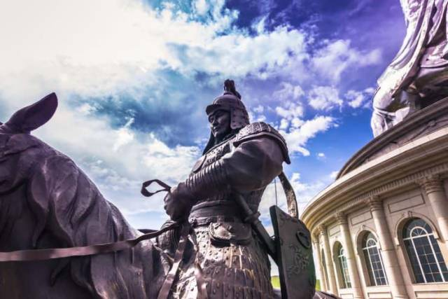 A statue of a Mongol warrior at the great Equestrian Monument of Genghis Khan, Mongolia