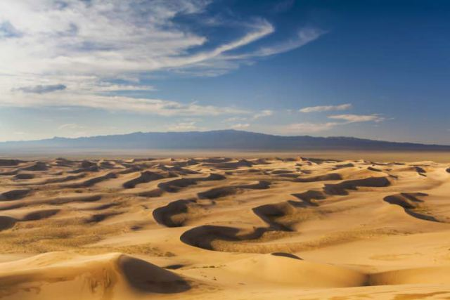Beautiful view of the dunes of the Gobi Desert. Mongolia