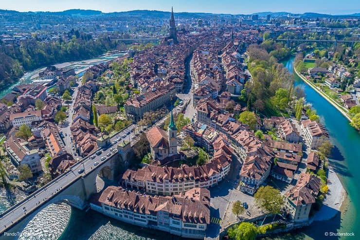 Drone view of the Bern old town