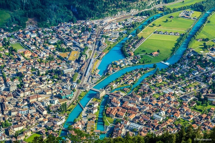 Interlaken town and Aare river from the view point of Harder Kulm, Switzerland