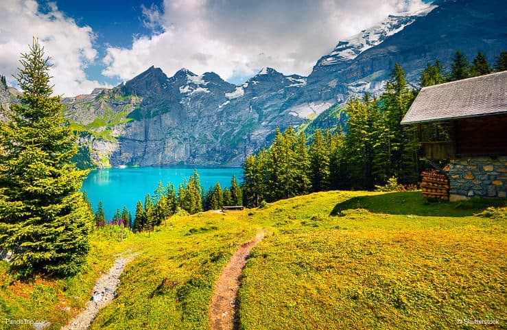 Summer view over the Oeschinensee (Oeschinen lake) and the alps in Switzerland