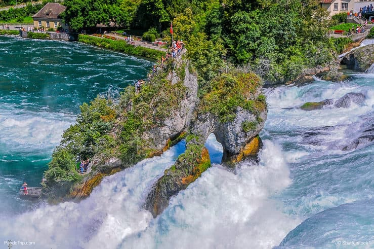 View to the Rheinfall in Switzerland