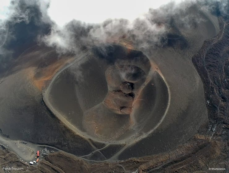 Aerial Drone view of Mount Etna volcanic crater in Sicily, Italy