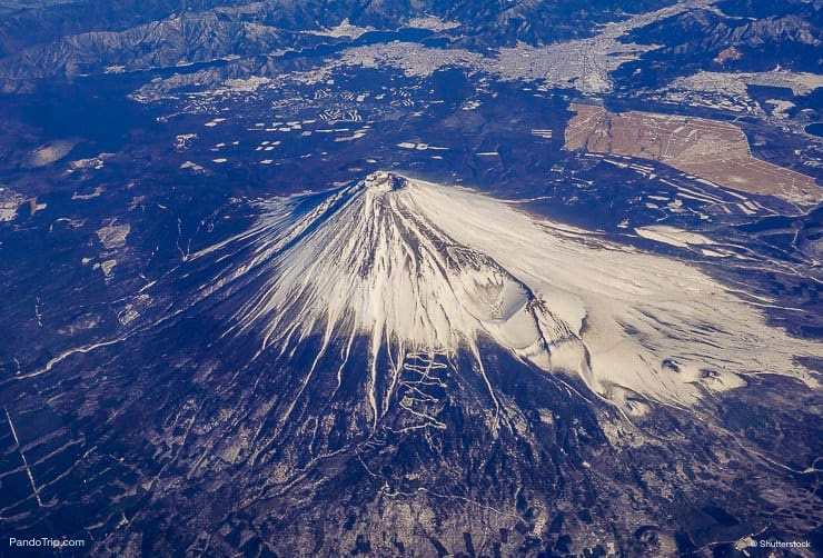 Aerial Drone view of Mount Fuji, Japan