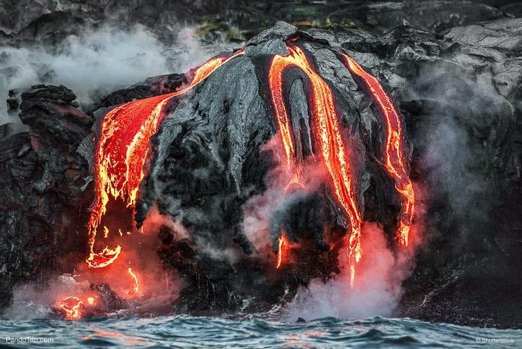 Hawaii lava flow entering the ocean on Big Island from Kilauea volcano in Hawaii