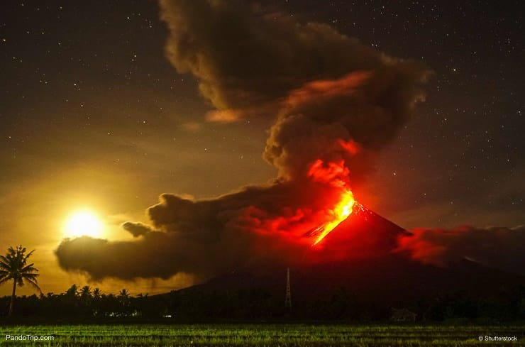 Mayon Volcano Eruption in 2018. Albay, Philippines