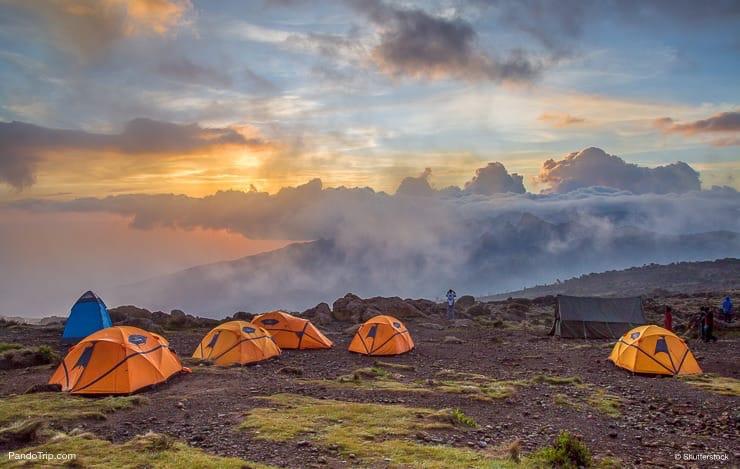 Orange tents on Mount Kilimanjaro. Kilimanjaro National Park, Tanzania
