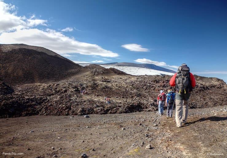 Walking on the top of Eyjafjallajokull volcano in Iceland