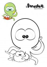 Disegni da colorare: il polipo e il granchio