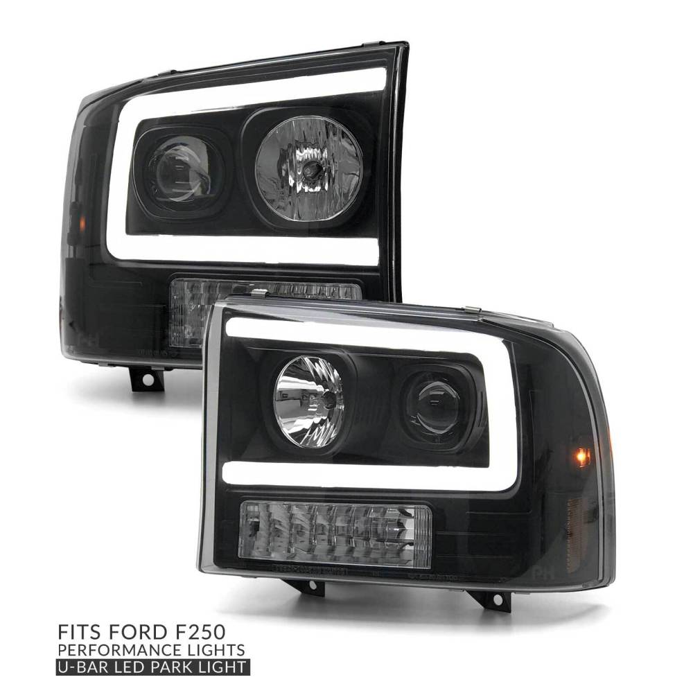 medium resolution of headlights pair black projector led drl style fits ford f250 1999 2004