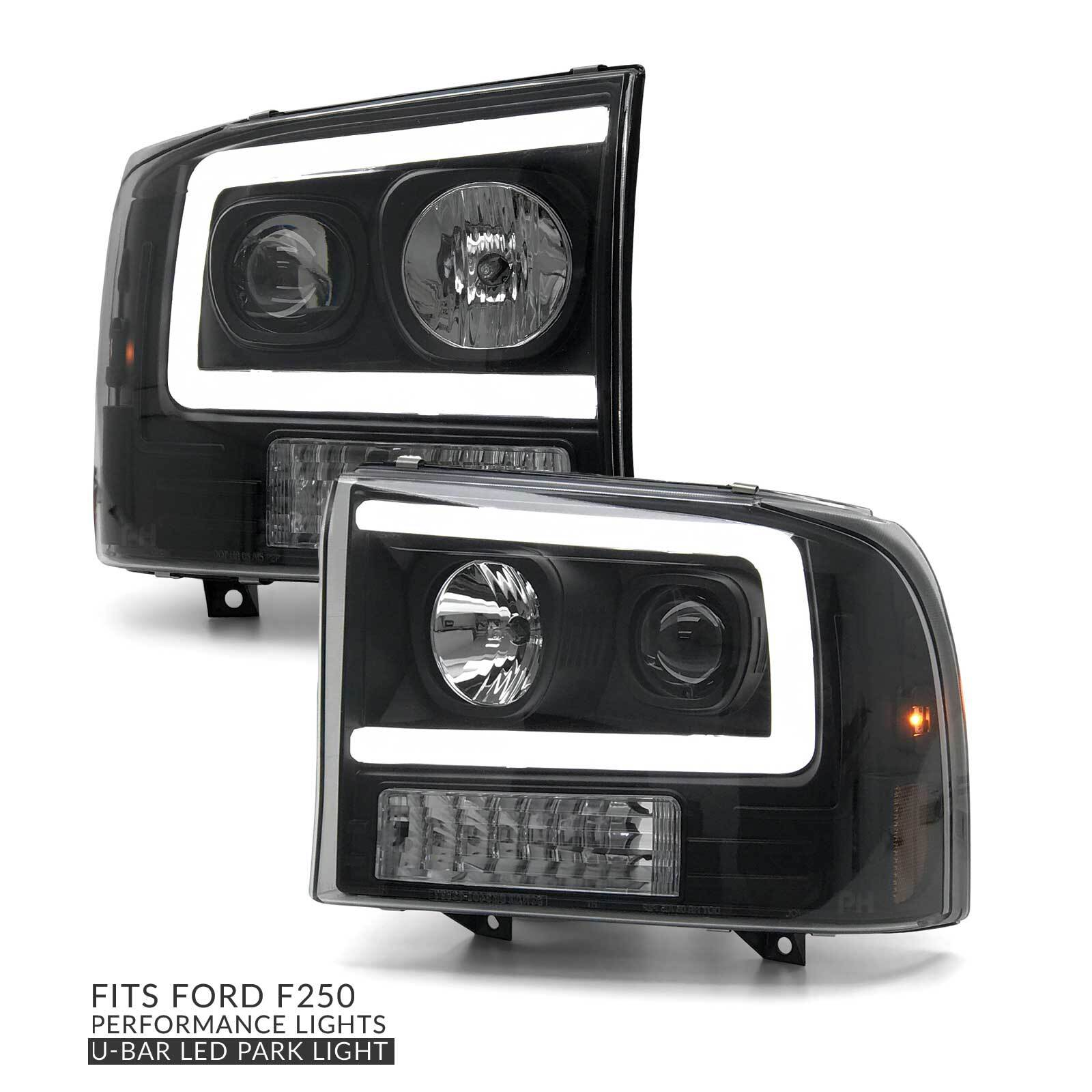 hight resolution of headlights pair black projector led drl style fits ford f250 1999 2004