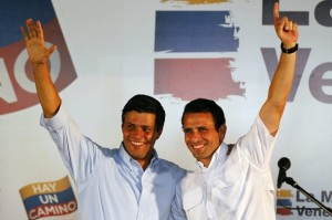 Miranda state Governor Capriles Radonski and Voluntad Popular Lopez attends an event of Venezuela's opposition Democratic Unity coalition