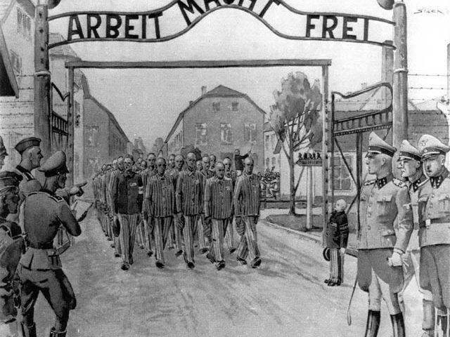 Sortie par le portail du camp d'Auschwitz I pour aller au travail. Peinture de Wladyslaw Siwek, 1946 (coll. Musée d'Etat d'Auschwitz-Birkenau).