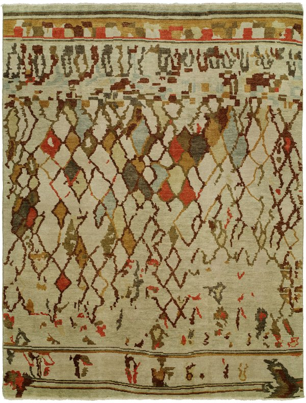 Linen Field with Light Blue Tan and Red Accents