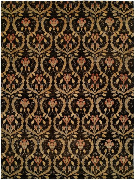 Black Field with Gold and Rose Accents area rug