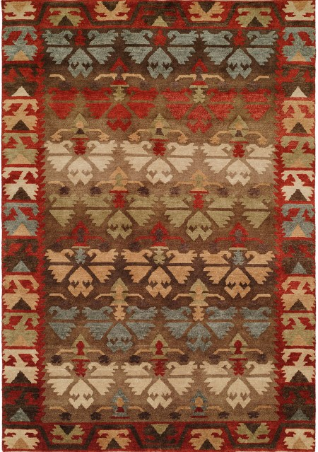 Nomadic Caucasian Design - Rust Brown Light Green and Blue area rug