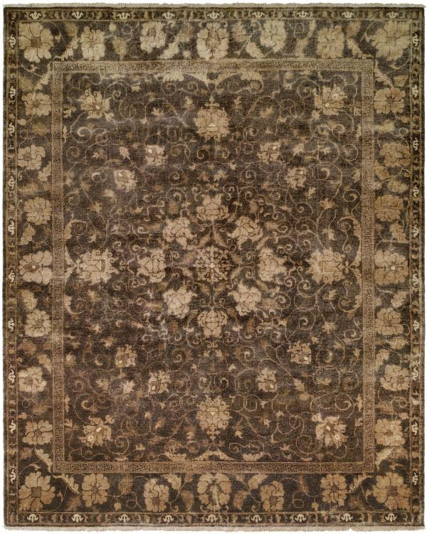 Dark Coffee Brown with Ivory Accents area rug