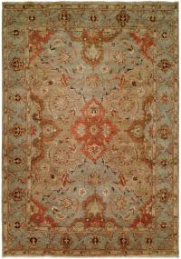 Rust Tan Light Blue Field with Light Blue Border area rug