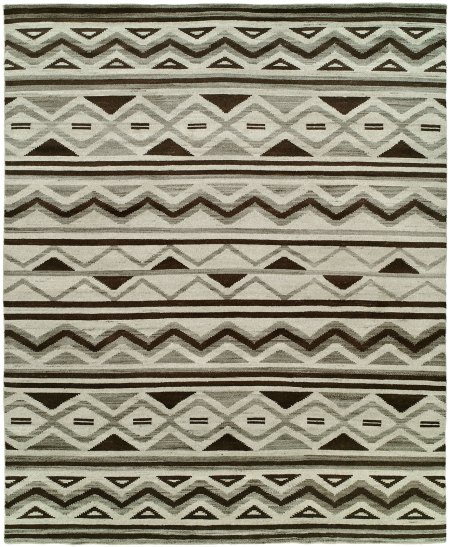 Southwestern Tribal Design - Natural Grey Black and Ivory area rug