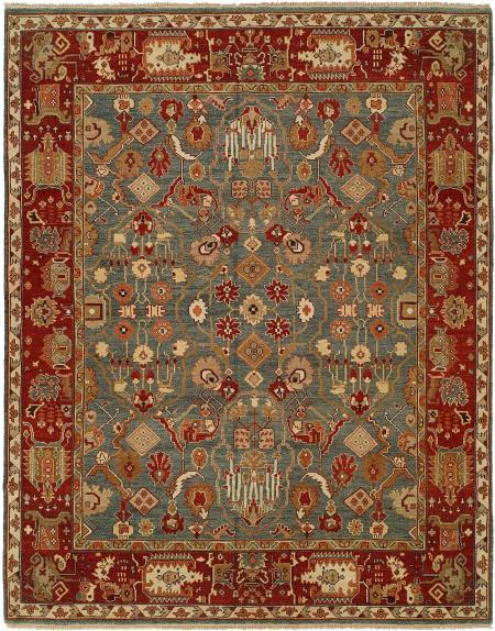 Rust Red Border with Denim Blue Field area rug