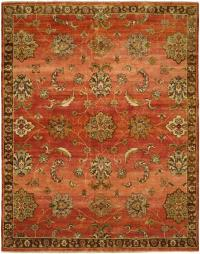 Russet Red Field with Chocolate Brown Border area rug