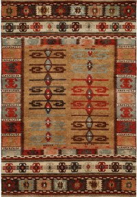 Nomadic Tribal Design - Multi Colored with Wheat and Ivory area rug