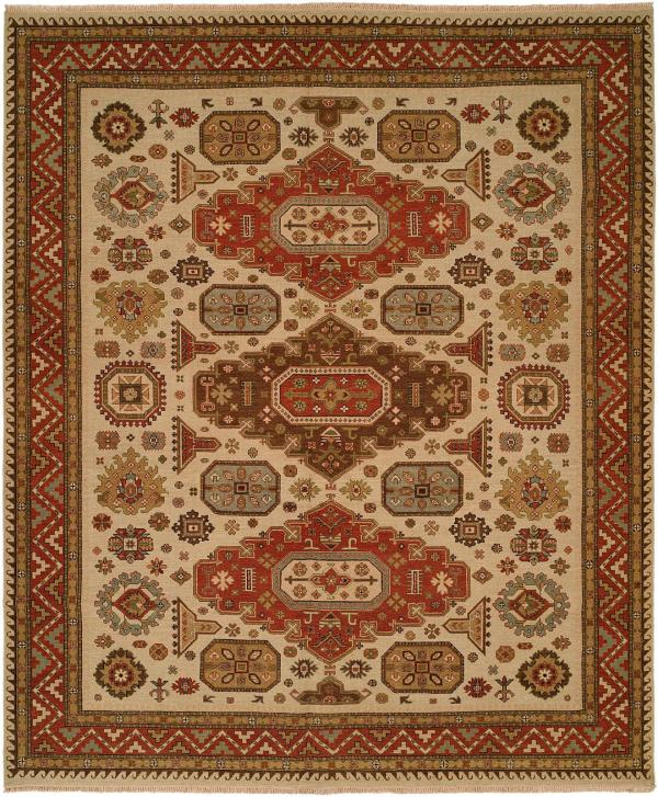 Red Rust Border with Ivory Field area rug