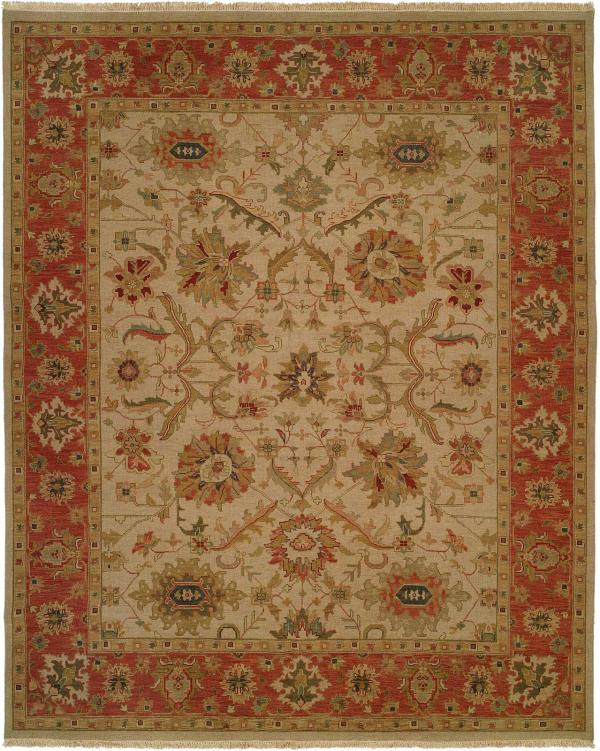 Rust Border with Ivory Field area rug