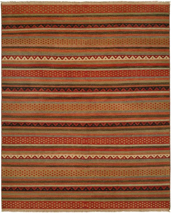 Navajo Blanket Design - Multi Colored in Sage Wheat and Rust area rug