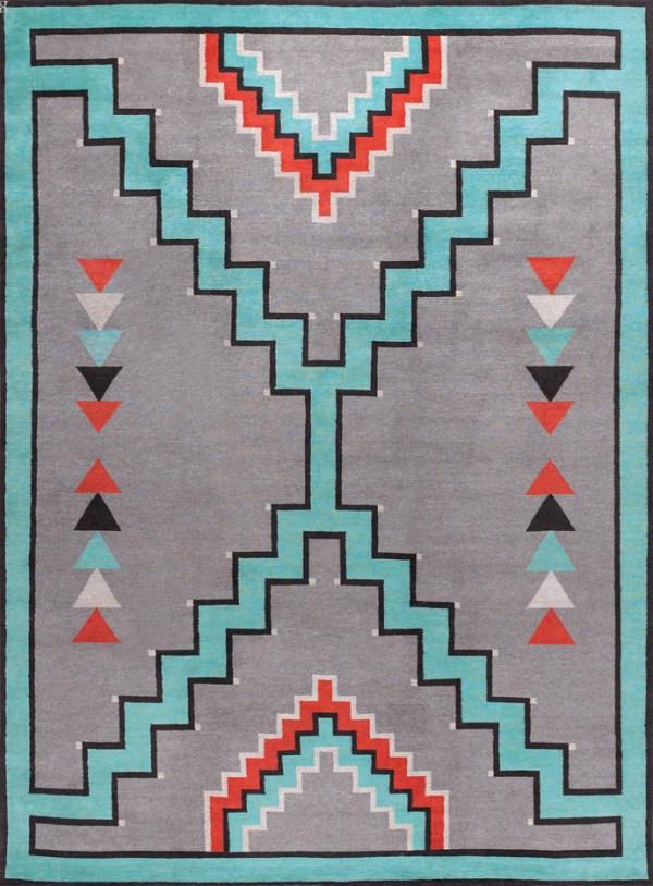 Southwestern Tribal Design. Turquoise Grey Terra Cotta and Black.