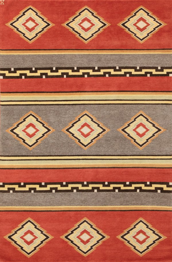 Navajo Rug Design - Red and Grey with Multi Colored Accents
