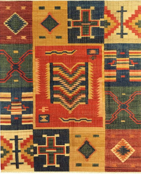 Santa Fe Inspired Design - Multi Colored with Rust Yellow and Green area rug