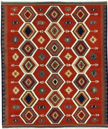 Modern Tribal Design - Tomato Red with Multi Colored Accents area rug